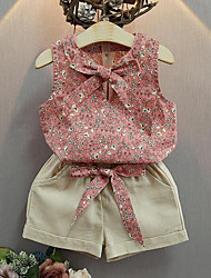 Девочки Наборы На каждый день Хлопок Цветочный принт Лето Без рукавов Набор одежды