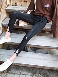 signe filer jeans trou noir taille et d'un pantalon gris pieds féminins neuf points minces a été un pantalon crayon mince