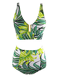 Women's  Halter Print High Rise  M/L/XL/XXL Green One-Piece Swimsuits