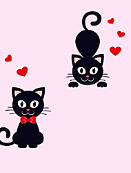 Wall Stickers Wall Decals Style Love Cat PVC Switch Stickers