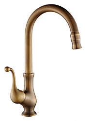 Antique Standard Spout Vessel Rotatable Ceramic Valve Single Handle One Hole Antique Copper , Kitchen faucet