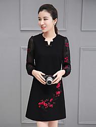 firmare 2017 nuovi vestito di primavera delle donne, sezione v-collo sottile lungo del vestito primavera ed autunno adattano stampata