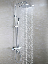 Chrome Brass Tub Shower Faucet With 10 Inch Shower Head / Brass Hand Shower / Thermostatic / Contemporary