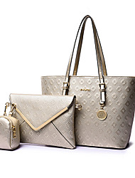 Women Bags All Seasons PU Bag Set 3 Pcs Purse Set for Wedding Event/Party Casual Formal Office & Career Blue Gold White Black