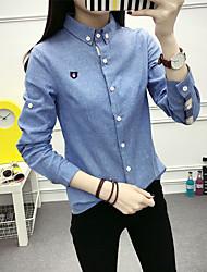 Women's Graduation Daily Street Office & Career Cute Spring Shirt,Solid Color Shirt Collar Long Sleeves N/A Medium