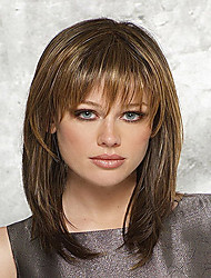 cheap -Women Synthetic Wig Medium Length Straight Brown Natural Wigs Halloween Wig Carnival Wig Costume Wig