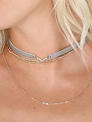 Choker Necklaces Alloy Leather Pendant Tassel Multi-ways Wear V Alphabet Shape Jewelry Women'sWedding Party Special Occasion Birthday