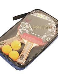3 Stelle Ping-pong Racchette Ping Pang Gomma Manopola  lunga Raw gomma 2 Racchetta 3 Palline da ping pongAl Coperto Prestazioni Esercizi