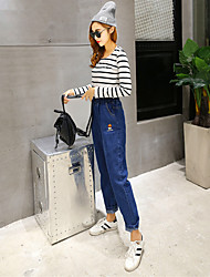 Sign 2017 spring new elastic waist loose casual jeans embroidery was thin pantyhose