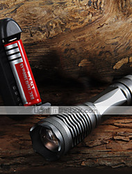 cheap -UltraFire E6 LED Flashlights / Torch LED 2000 lm 5 Mode Cree XM-L T6 with Battery and Charger Zoomable Adjustable Focus
