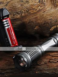 E6 Torce LED Torce LED 2000 Lumens 5 Modo Cree XM-L T6 Messa a fuoco regolabile per Campeggio/Escursionismo/Speleologia Uso quotidiano