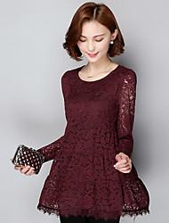 знак 2017 ярдов тонкой тонкая шеи длинных рукава кружево рубашка и длинные участки дна рубашки одежды Лейси