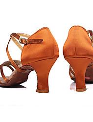Mulheres Latina Dança de Salão Cetim Courino Sandália Salto Interior Profissional Presilha Salto Personalizado Camel Marrom Personalizável