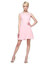 A-Line Bateau Neck Short / Mini Chiffon Lace Stretch Satin Bridesmaid Dress with Appliques Bow(s) Sash / Ribbon by LAN TING BRIDE®