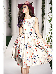2015 spring new European and American high-end women's dress was thin printed dress tutu