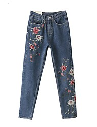 Women's Mid Rise Micro-elastic Jeans Pants,Simple Straight Solid