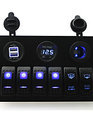 cheap -IZTOSS DC 12/24V 6 gang blue rocker switches panel with bilge blower bilge pump switch and 3.1A Dual USB voltmeter led power Socket pre-wired and wiri