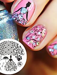 Недорогие -Роза королева тема гвоздь штамповки пластинки ногтей печать штамп изображение пластина родился довольно bp25