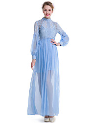 SUOQI Fashion Wild Stand Up Long Sleeves Lace Stitching Elegant And Elegant Long Skirt Leisure Vacation Party Home Family Gathering Dress