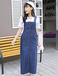 Sign 2017 Spring Korean Institute of Japanese and Korean style denim strap dress