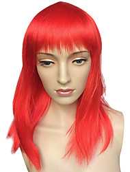 cheap -Capless Medium Long Wig Red Women Straight Costume Wig Hairstyle Cosplay Wigs