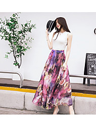 Women's Beach Holiday Maxi Skirts Swing Rayon Floral Summer
