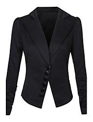 Women's Work Simple Spring Fall Blazer,Print Round Neck Long Sleeve Regular Others