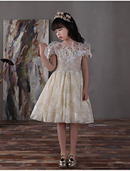 A-Line Knee Length Flower Girl Dress - Lace Satin Chiffon Sleeveless Off-the-shoulder with Pearl