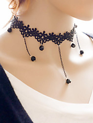 Women's Choker Necklaces Rhinestone Round Fabric Alloy Basic Unique Design Tattoo Style Dangling Style Fashion Punk Jewelry For Birthday