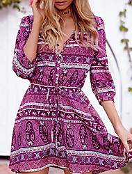 HOT! M-2XL Plus Size Women's Going out Casual/Daily Beach Sexy Boho Sheath DressPrint V Neck Above Knee  Length Sleeve Polyester Summer
