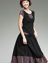 New women's national wind round neck short-sleeved cotton shirt stitching