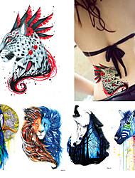 abordables -5 Non Toxic Modelo Halloween Parte Lumbar Waterproof Caricaturas Series de Animal Series de Tótem Tatuajes Adhesivos