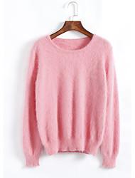 billige -Dame Vintage Sofistikerede Gade Pullover - Ensfarvet