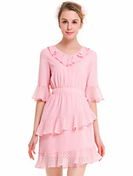 SUOQI Fashion Wild 1/2 Speaker Sleeves V Collar Was Thin Leaf Side Pink Dress Party Cocktail Holiday Dating Dresses
