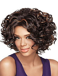 cheap -Women Synthetic Wig Capless Short Curly Brown Highlighted/Balayage Hair African American Wig Natural Wig Costume Wigs