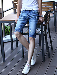 2016 spring and summer men's denim pants fifth breeches Korean wave of cowboy hole tide Shorts