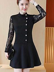 vraiment faire 2017 nouvelles femmes jupe robe en dentelle mince tempérament coréen talonnage longue section