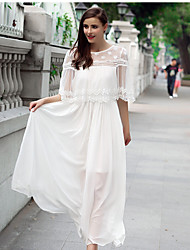 женщины корейского темперамент тонкая поддельная два шифона платье фея юбка с коротким рукавом платья женщин