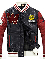 Men's Casual/Daily Active Punk & Gothic Winter Jacket,Letter Round Neck Long Sleeve Regular PU