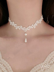 cheap -Women's Choker Necklace / Pendant - Imitation Pearl, Lace Flower Tattoo Style, Dangling Style White Necklace For Wedding, Party, Special Occasion