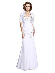 cheap -Mermaid / Trumpet Strapless Floor Length Taffeta Mother of the Bride Dress with Beading Appliques Side Draping by LAN TING BRIDE®