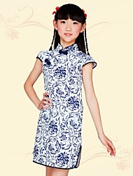 cheap -Girl's Daily Going out School Print Dress,Cotton Spring Summer Fall Short Sleeve Floral Blue