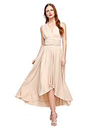 cheap -A-Line V Neck Asymmetrical Chiffon Jersey Bridesmaid Dress with Sash / Ribbon Pleats by LAN TING BRIDE®