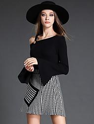 Real shot 2016 autumn new women knitted short paragraph waist A-line skirt sweet short skirt
