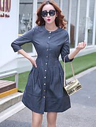 Véritable coup en Europe et en Amérique Grand taille mince jeans couture robe à manches courtes slim 2017 nouvelle robe décontractée était