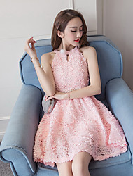 2017 été nouvelles femmes bustier sexy creuse des fleurs en trois dimensions robe licou sans manches tutu