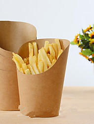 cheap -10Pcs 12Oz Disposable  Kraft Paper French Fries Cup Fried Chicken Wings Popcorn Dessert Storage Box