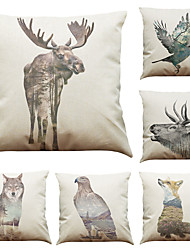 Set of 6 Creative Animal Landscape Pattern  Linen Pillowcase Sofa Home Decor Cushion Cover  Throw Pillow Case (18*18inch)
