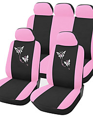AUTOYOUTH Polyester Fabric Car Seat Covers for Women Full Set Pink Butterfly Embroidery Universal Fit Most Car Seats Styling