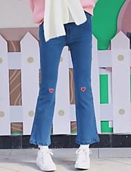 Women Korean Institute of wind embroidery waist small speakers love nine points was thin straight jeans jeans wild